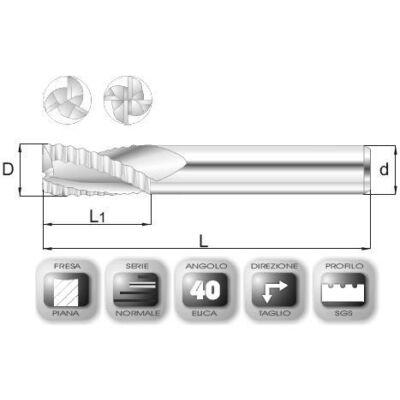 14 x 28 mm, Keményfém nagyoló maró, SGS, 76 mm teljes hossz, 14 mm szár átmérő