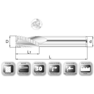 14 x 28 mm, Keményfém nagyoló maró, SGAL, 76 mm teljes hossz, 14 mm szár átmérő